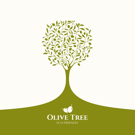 Olive label, logo design. Olijfboom