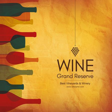 Wine list design. Vector brochure template for wine shop, winery, wine list, cafe, restaurant, bar.