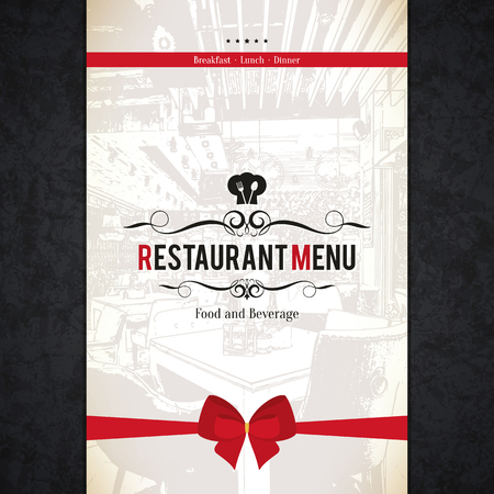 eatery: Restaurant menu design. Vector menu brochure template for cafe, coffee house, restaurant, bar. Food and drinks logotype symbol design. With a sketch pictures