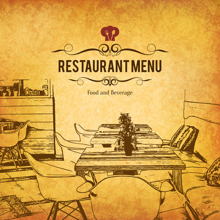 restaurant bar: Restaurant menu design. Vector menu brochure template for cafe, coffee house, restaurant, bar. Food and drinks logotype symbol design. With a sketch pictures
