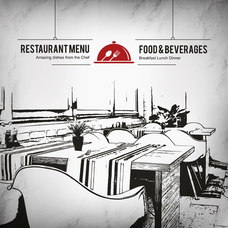 design: Restaurant menu design. Vector menu brochure template for cafe, coffee house, restaurant, bar. Food and drinks logotype symbol design. With a sketch pictures