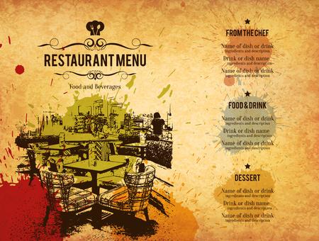 la conception du menu des restaurants. menu vecteur modèle de brochure pour un café, un café, un restaurant, un bar. Nourriture et boissons design symbole logotype. Avec des images d'esquisse