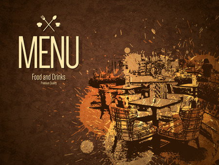 menu restaurant: Restaurant menu design. Vector menu brochure template for cafe, coffee house, restaurant, bar. Food and drinks logotype symbol design. With a sketch pictures