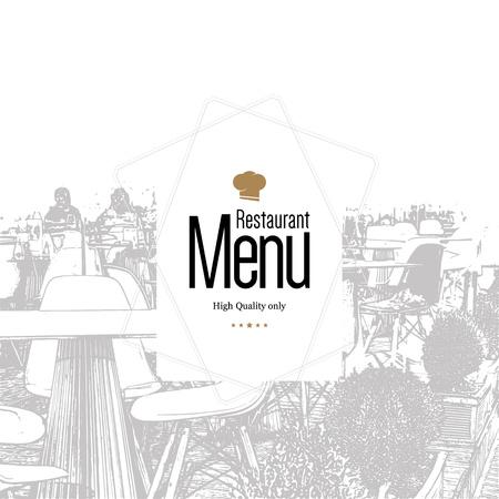 Restaurant menu design. dal menu vettoriale modello di brochure per bar, caffè, ristorante, bar. Il cibo e le bevande di design simbolo logotipo. Con le immagini schizzo