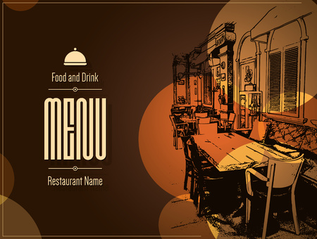 sketch: Restaurant menu design. Vector menu brochure template for cafe, coffee house, restaurant, bar. Food and drinks logotype symbol design. With a sketch pictures