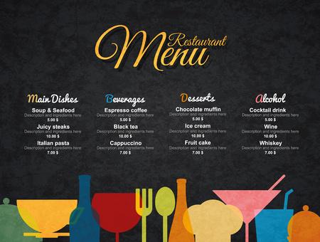textured paper: Restaurant menu design. Vector menu brochure template for cafe, coffee house, restaurant, bar. Food and drinks logotype symbol design