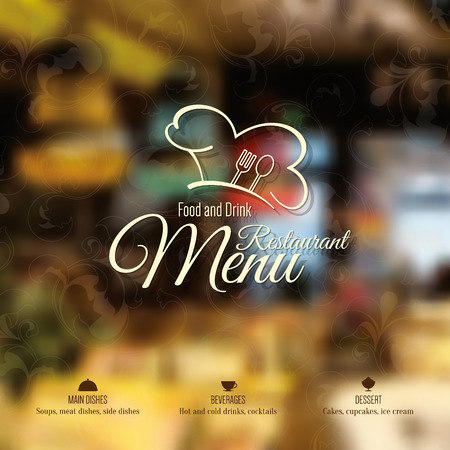 food: Restaurant menu design. Vector menu brochure template for cafe, coffee house, restaurant, bar. Food and drinks logotype symbol design
