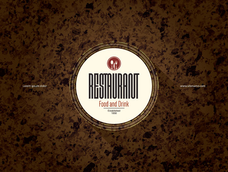 food: Restaurant menu design. Vector menu brochure template for cafe, coffee house, restaurant, bar. Food and drinks logotype symbol design
