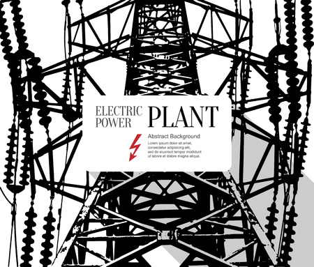 electric power: Electric power station. Abstract sketch stylized background Illustration