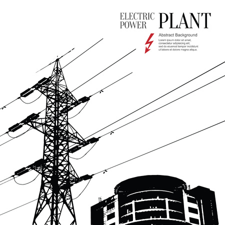 transmit: Electric power station. Abstract sketch stylized background Illustration