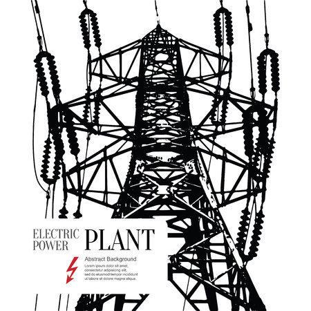 industry: Electric power station. Abstract sketch stylized background Illustration