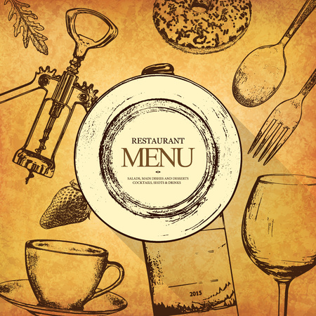 textured paper: Restaurant menu design. Vector menu brochure template for cafe, coffee house, restaurant, bar. Food and drinks logotype symbol design. With a sketch pictures