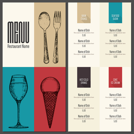 food: Restaurant menu design. Vector menu brochure template for cafe, coffee house, restaurant, bar. Food and drinks logotype symbol design. With a sketch pictures