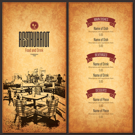 paper texture: Restaurant menu design. Vector menu brochure template for cafe, coffee house, restaurant, bar. Food and drinks logotype symbol design. With a sketch pictures
