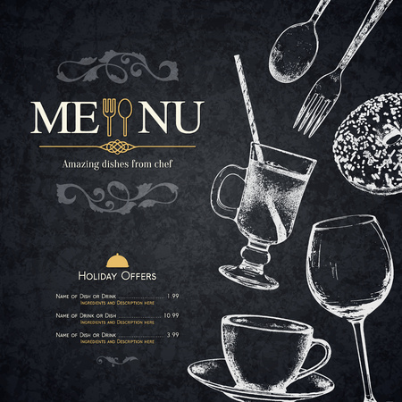 retro: Restaurant menu design. Vector menu brochure template for cafe, coffee house, restaurant, bar. Food and drinks logotype symbol design. With a sketch pictures