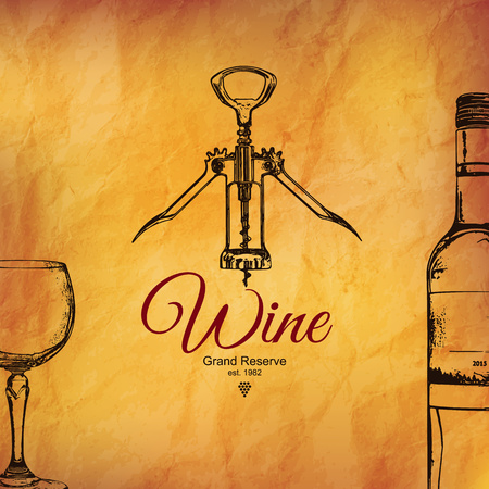 food: Wine list design. Vector brochure template for winery, cafe, restaurant, bar. Wine bottles and glasses Illustration