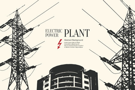 wire: Electric power station. Abstract sketch stylized background Illustration