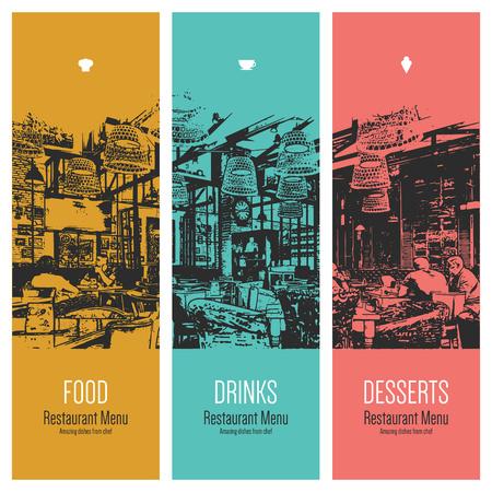 Restaurant menu design. Vector menu brochure sjabloon voor cafe, koffiehuis, restaurant, bar. Eten en drinken logo symbool design. Met een schets foto's Stock Illustratie