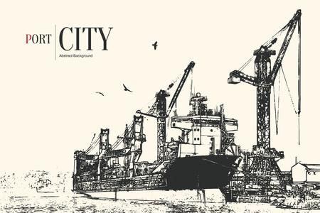 화물 포트. 로드 및 언로드 선박의 추상 스케치 스타일 된 배경