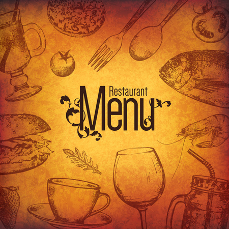 creative: Restaurant menu design. Vector menu brochure template for cafe, coffee house, restaurant, bar. Food and drinks logotype symbol design. With a sketch pictures