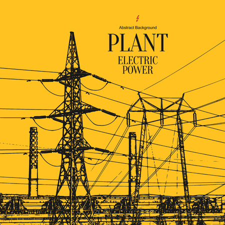 technology: Electric power station. Abstract sketch stylized background Illustration