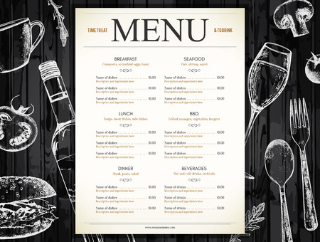texture: Restaurant menu design. Vector menu brochure template for cafe, coffee house, restaurant, bar. Food and drinks logotype symbol design. With a sketch pictures