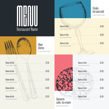 layout: Restaurant menu design. Vector menu brochure template for cafe, coffee house, restaurant, bar. Food and drinks logotype symbol design. With a sketch pictures