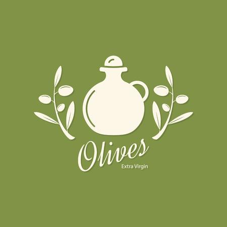 leaf logo: Olive label, logo design. Olive branch