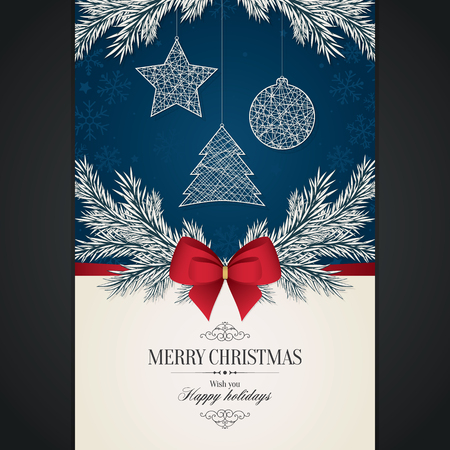 Christmas and New Year. Vector greeting card with Christmas tree Illustration