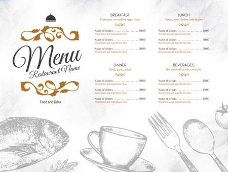 Restaurant menu ontwerp. Vector menusjabloon brochure voor café, koffiehuis, restaurant, bar. Eten en drinken logo symbool ontwerp. Met schetsfoto's