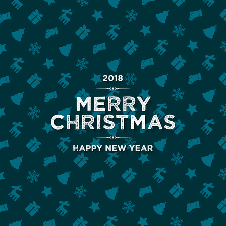 Christmas and New Year. Vector greeting card with festive background