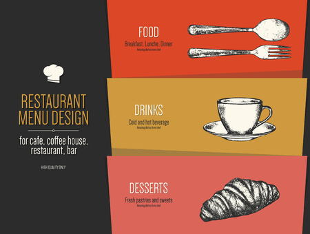 Restaurant Menu Design Vector Menu Brochure Template For Cafe