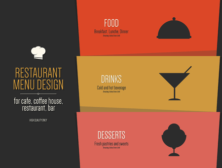 Restaurant menu ontwerp. Vector menu brochure sjabloon voor café, koffiehuis, restaurant, bar. Ontwerp van het symbool van levensmiddelen en dranken symbool
