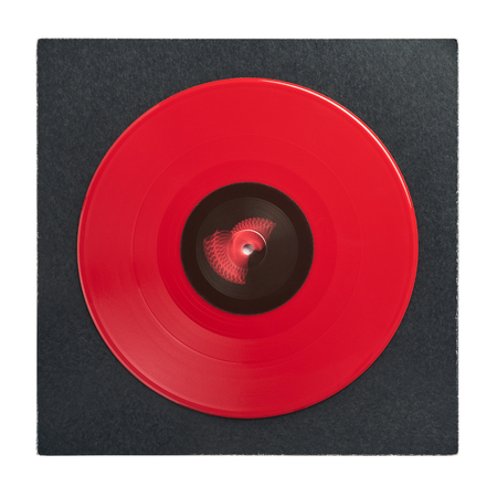 Red DJ vinyl record plate for a music player with dark cover close-up