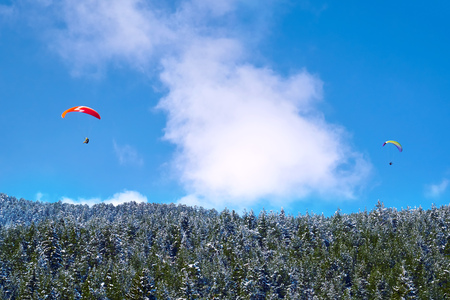 Landscape of mountains against the blue sky and white clouds. Forest of pine trees. Two paratroopers flying over the mountain massif against the blue sky