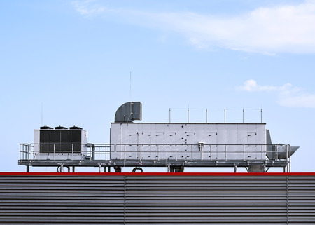 Supermarket ventilation system on the roof of the building