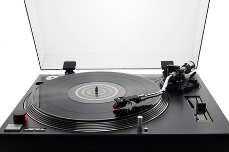 Turntable vinyl record player. Audio equipment for disc jockey. Sound technology for DJ to mix & play music. Black vinyl record. Bright background for the basic design