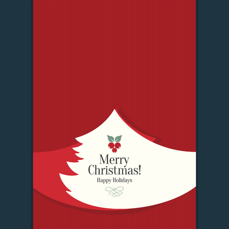 Christmas and New Year. Vector greeting card with Christmas tree 일러스트