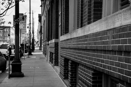 Urban setting of old brick building