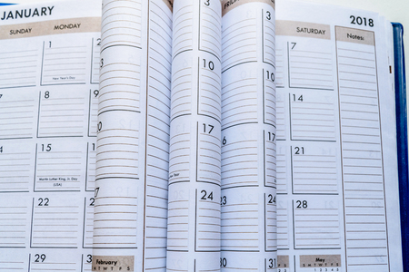 Closeup of January and 2018 Calendar with dates and weeks. Stock Photo