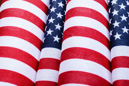 Closeup Flag Rolls with Stars and Stripes