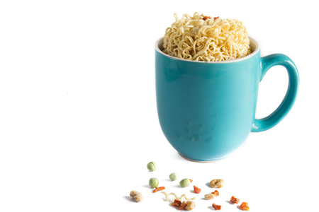 Isolated Cup of Raw Noodles in Blue Cup Stock Photo