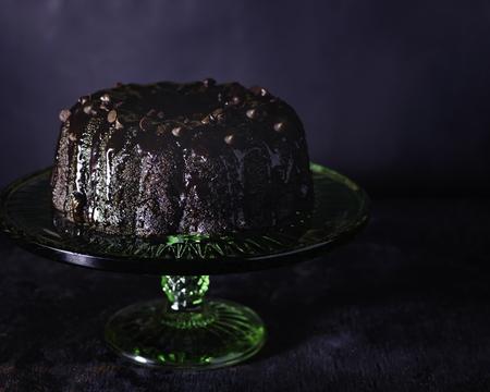 Chocolate fudge cake with chocolate morsels Stock Photo
