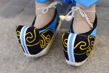 A pair of embroidered shoes on my feet