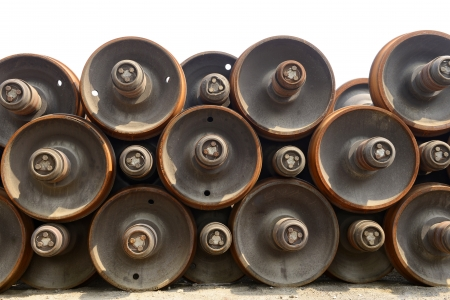 neatly stacked: Neatly stacked old train wheels