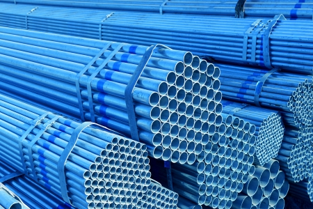 bundling: Bundles of steel pipe pile up together   Stock Photo