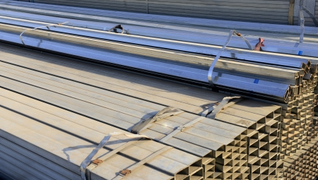 Bundles of Angle steel in the market   photo
