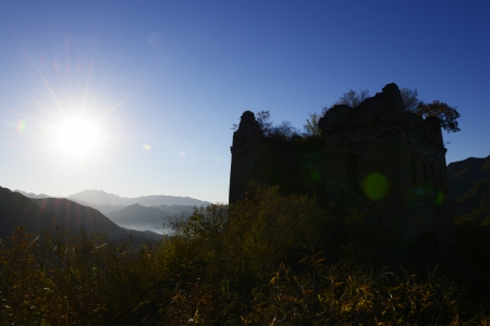 The original ecology of the Great Wall in north China in the morning   photo