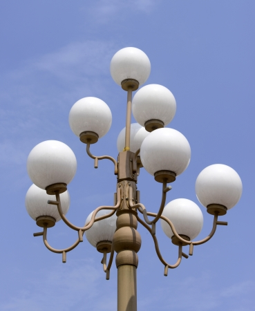 features: Park street lamp features   Stock Photo