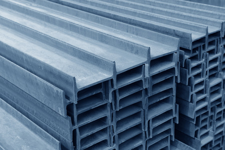 steel blue: Many i-section steel stacked together with rust
